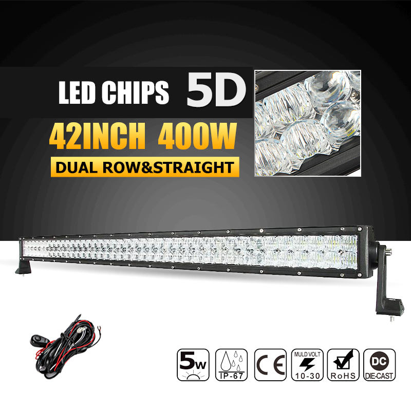 Oslamp 42inch LED Light Bar 5D 400W Led Bar Offroad Led Working Light Combo Beam 12v 24v Truck Boat SUV ATV 4X4 4WD Driving Lamp 240w led light bar 13 5inch combo beam led bar driving lights 5d lens reflector led off road lights 4x4 suv truck boat utv atv