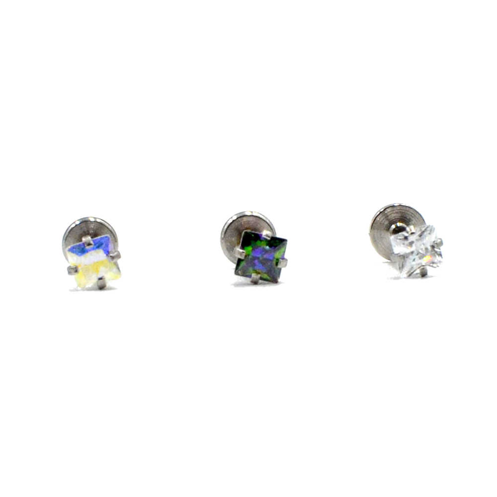 1PC 16g เหล็กผ่าตัดภายในเกลียวชุดคริสตัล Zircon Labret Lip Stud Ear Helix Tragus ด้านบนต่างหูเจาะ