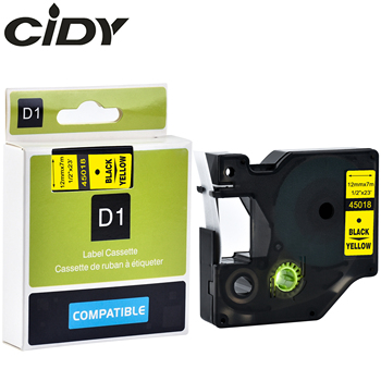 CIDY 50pcs Black on Yellow 45018 12mm*7m for dymo label printers for DYMO LM160 LM280 PNP