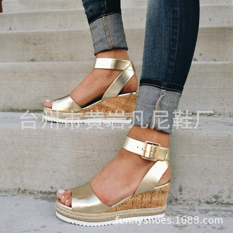 2019 Summer New Women Sandals High Heels Wedges Platform Shoes Woman Fashion Casual Gladiator Buckle Strap Solid Plus Size 35-43