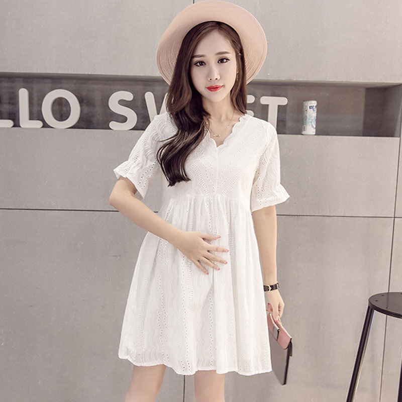 pregnant Women Dresses 2018 Summer Maternity New Fashion Cotton Breastfeeding Tame Dress Lace Loose Large size