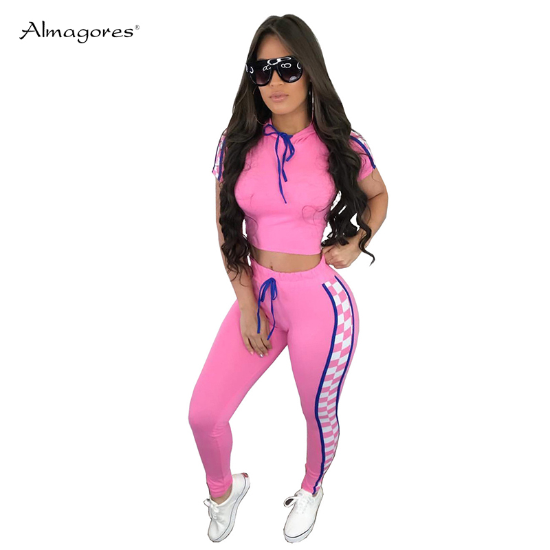 Almagores 2018 Plaid Two Piece Set Tracksuit Women Casual Sweatsuits Bodycon Crop Tops And Pants Checkerboard Sporting Outfits