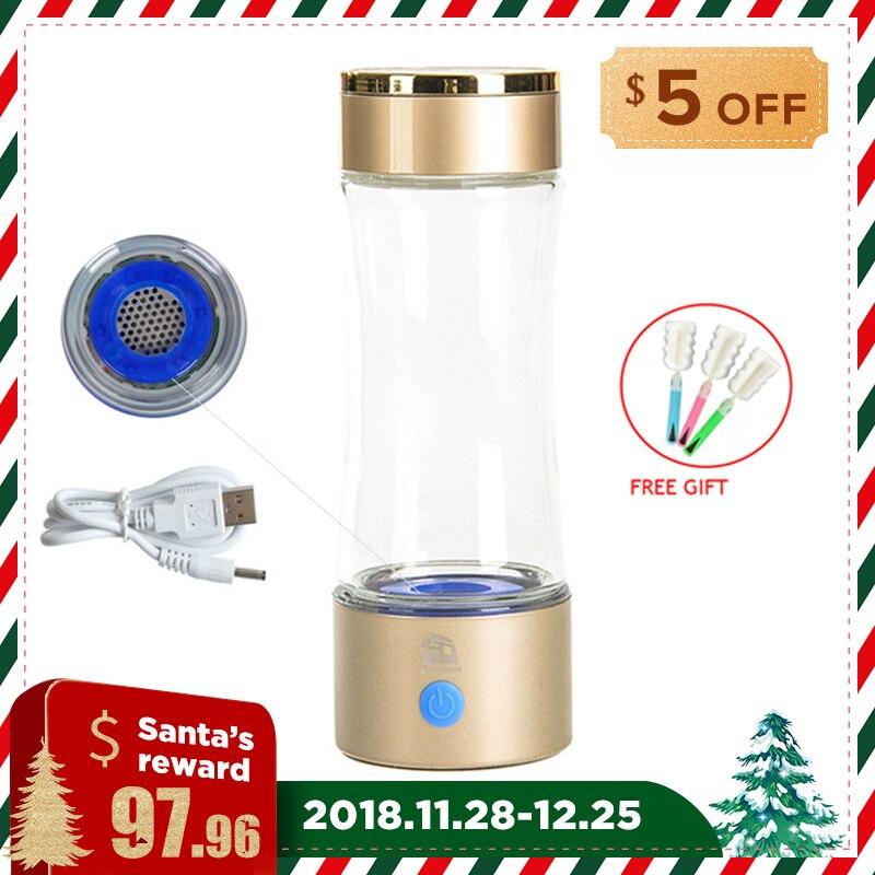 Haute Concentration 1000-1200ppb D'hydrogène Bouteille D'eau USB Rechargeable 320 ml Fabricant De L'eau Alcaline Anti Vieillissement Ioniseur D'eau