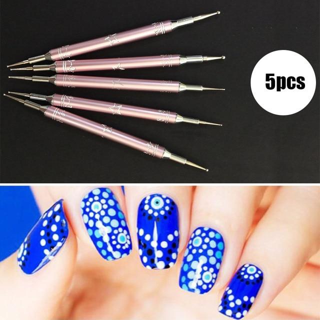 New 5pc Nail Dot Dotting Pen Nail Art Gel Metal Point Stainless