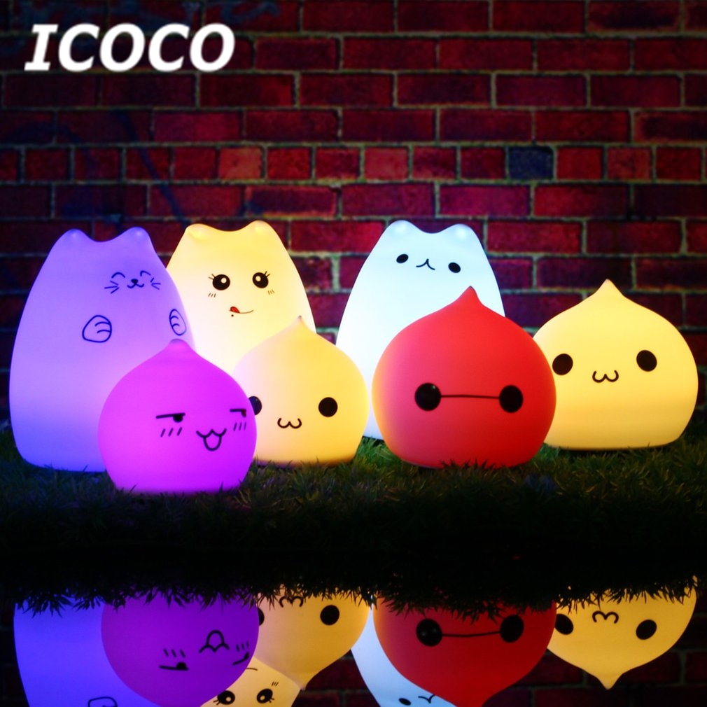 ICOCO Multicolor USB Rechargeable Silicone Cat Kitten LED Night Light Soft Cartoon Baby Kids Lamp Xmas Gift Drop Shipping Sale icoco usb rechargeable led magnetic foldable wooden book lamp night light desk lamp for christmas gift home decor s m l size