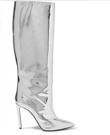 Unique Design Bling Bling 2017 Silver Mirror Leather Women Boots Pointed Toe Thin Heel Night Club Boot Women Autumn Winter Shoes