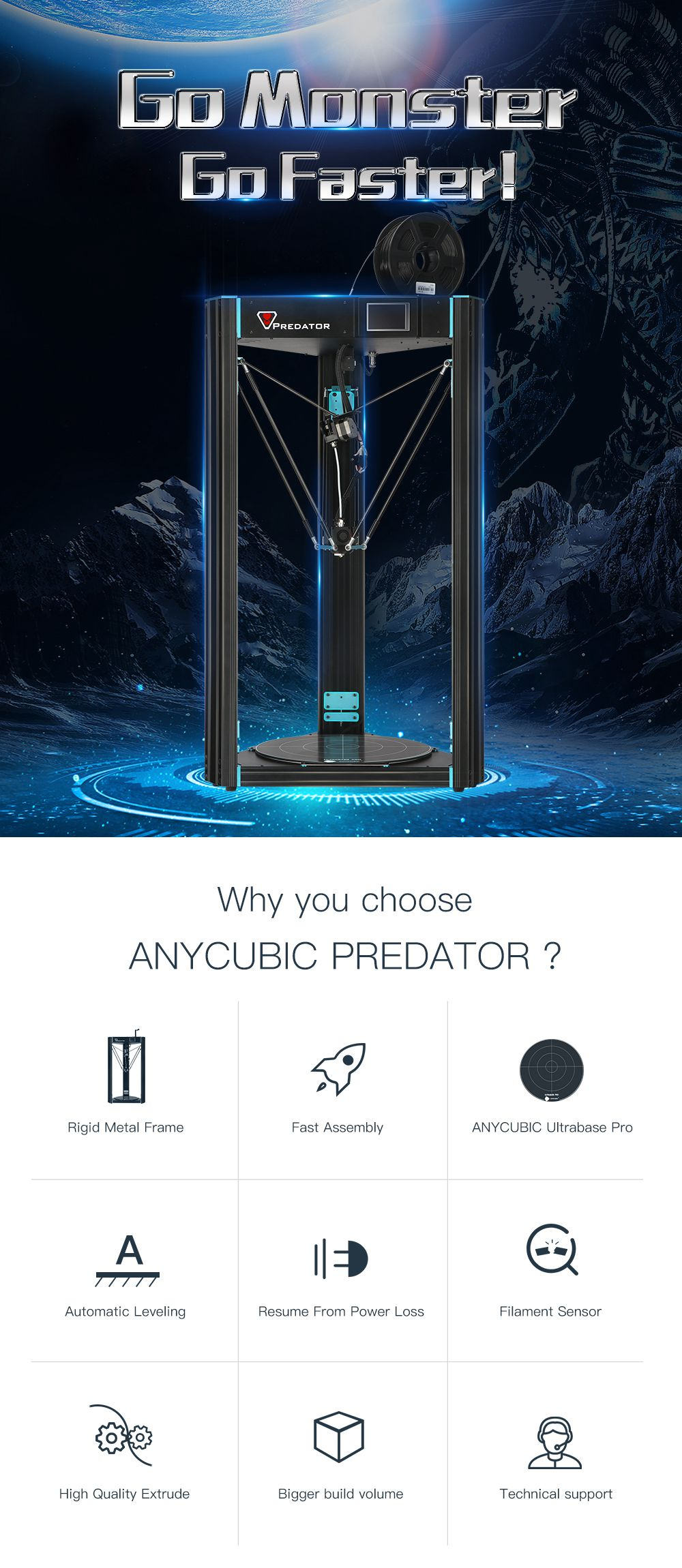 ANYCUBIC Predator 3D Printer Largest Pulley 370x370x455mm Auto Leveling Large Metal 3D Printer DIY Kit impresora 3d