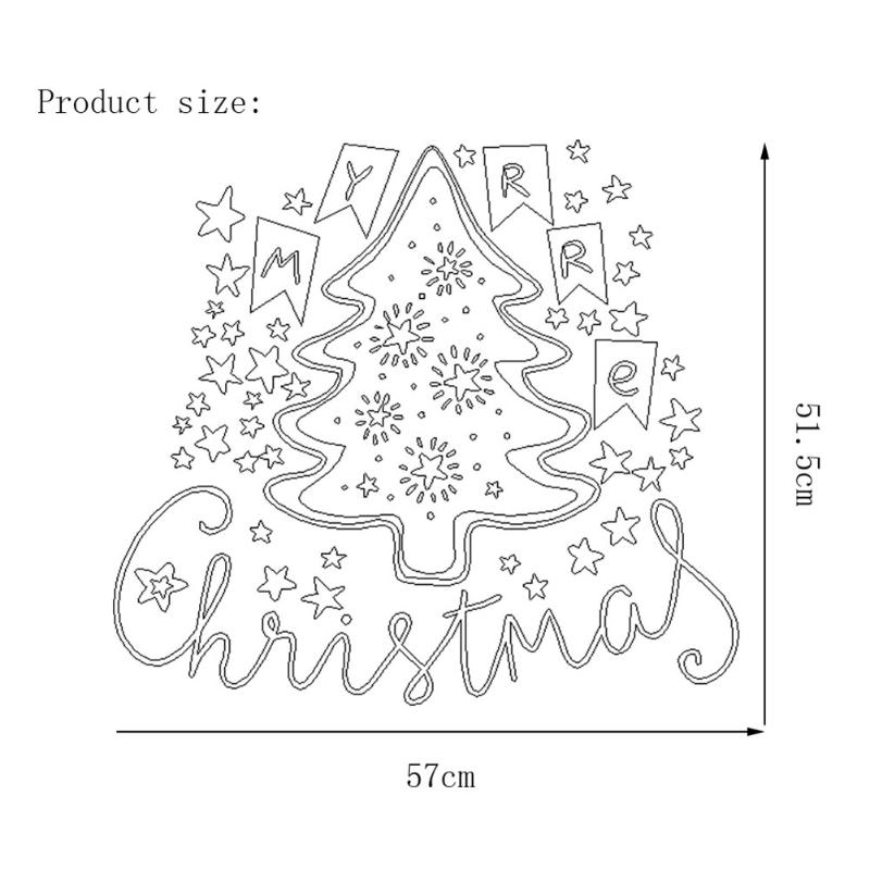Merry Christmas Tree Wall Stickers Removable PVC Waterproof Window Sticker Decal for Home Shop Christmas Decoration