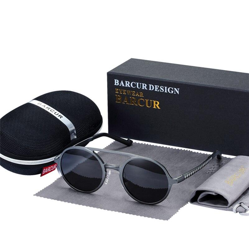 BARCUR Retro Alüminyum Magnezyum Güneş Gözlüğü Polarize - Elbise aksesuarları - Fotoğraf 2