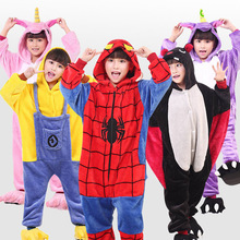 Купить с кэшбэком Kids Pajamas Flannel Animal Pegasus Stitch Unicorn Cosplay Pyjamas For Boys Girls Winter Warm Children Sleepwear Onesies 4-12