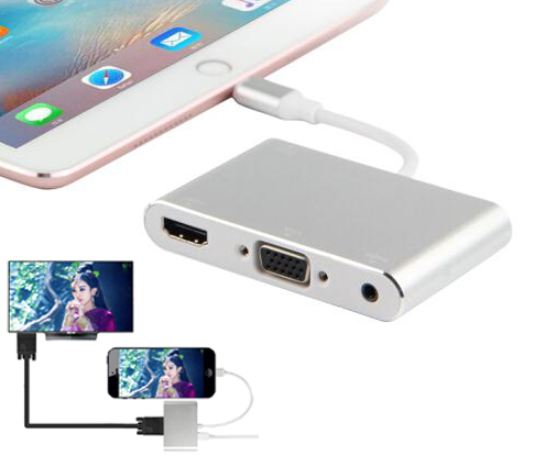imágenes para Aleación de Aluminio más nuevo Adaptador de Vídeo De 8 pines a HDMI tv VGA Audio convertidor Para el iphone 6 6 S 7 Más 5 5S ipad de Vídeo a la TV
