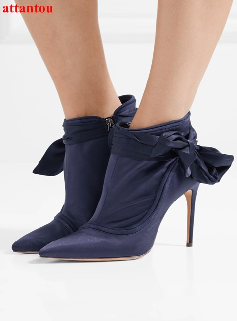 2018 Spring Fashion Deep Purple Satin Ankle boots Bowknot Pointed Toe Woman Short Boots breathable elegant female dress shoes ...