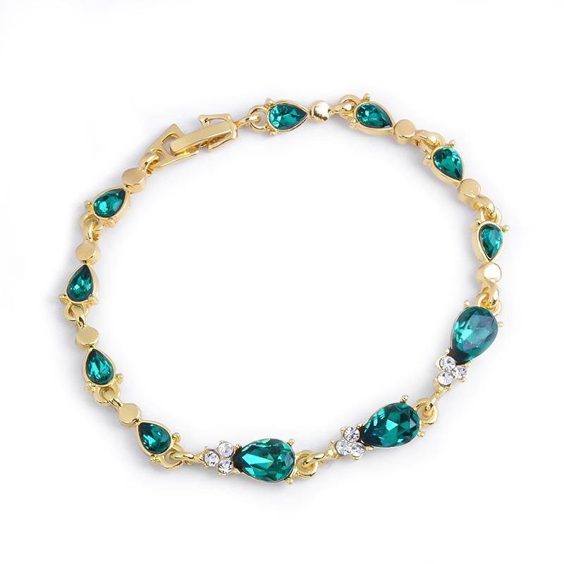 MISANANRYNE Vintage Multi-color Crystal Bracelets For Women 3 Types Gold chain Bracelet Water Drop Cubic Zircon Wedding Jewelry