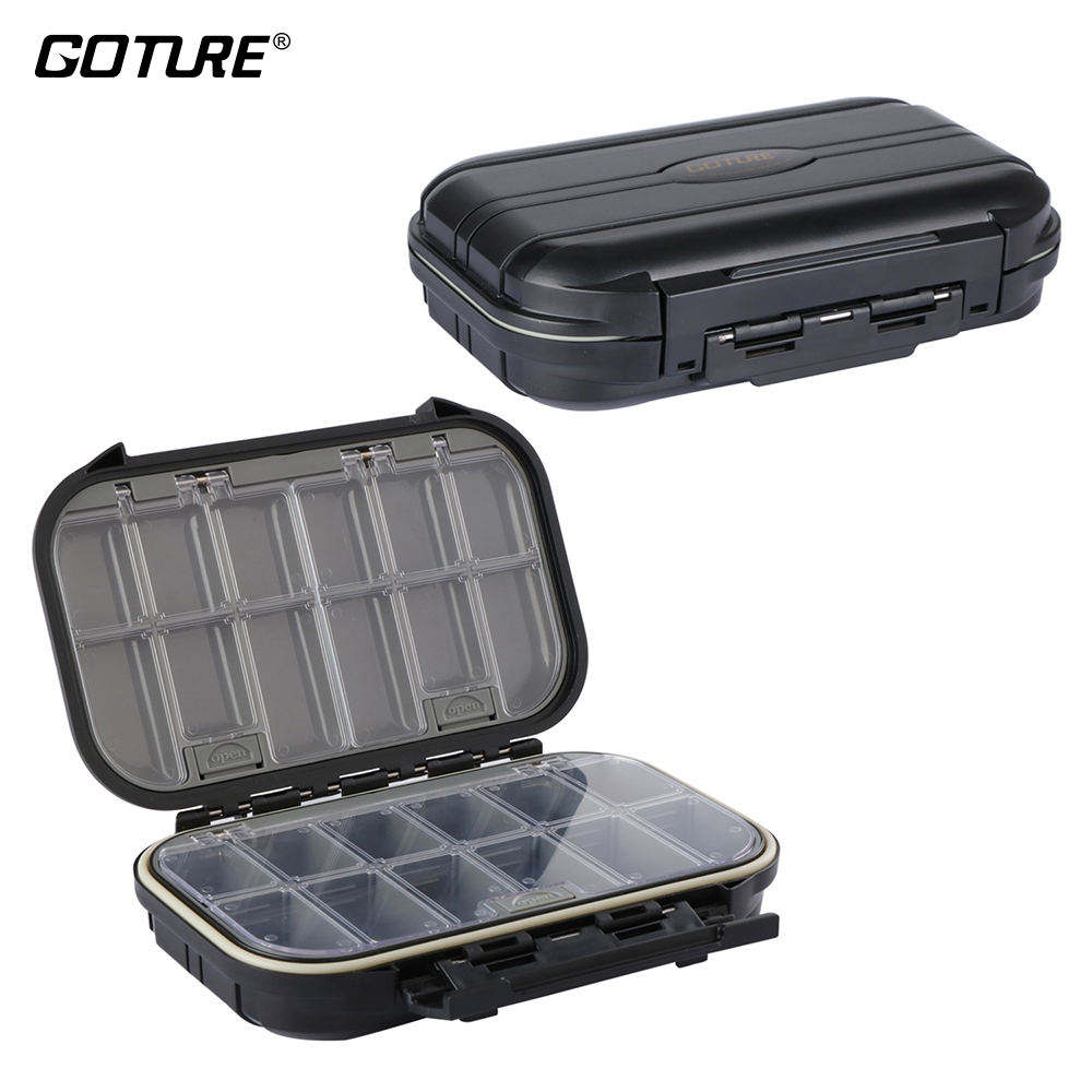 Goture 1PC Fishing Accessories Box ABS Hard Plastic Double Sides Waterproof Carp Fishing Tackle Box