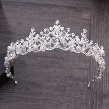 Luxury Elegant Crystal Pearl Bridal Crown Woman Tiaras Hair Jewelry Ornaments Hairwear Bride Headbands Wedding Hair Accessories(China)