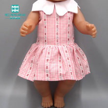 Baby clothes for doll fit 43-45cm new born doll accessories and American doll dress Pink plaid dress(China)
