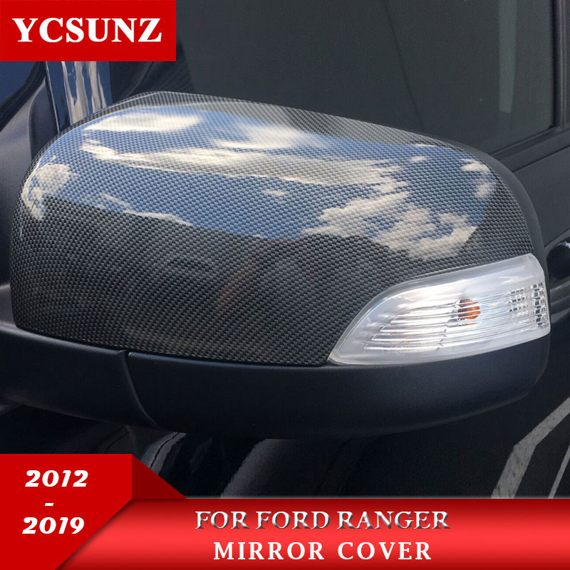 Car Accessories ABS Carbon Fiber Mirror Covers For Ford Ranger 2012 2019 T6 T7 T8 Wildtrak Double Cabin-in Lamp Hoods from Automobiles & Motorcycles    1