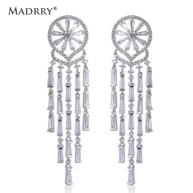 Boucles d'oreilles de mariée Madrry longues gland Zircons brillants purs balancent boucles d'oreille femme Joyas Bijoux de mariage femmes Bijoux