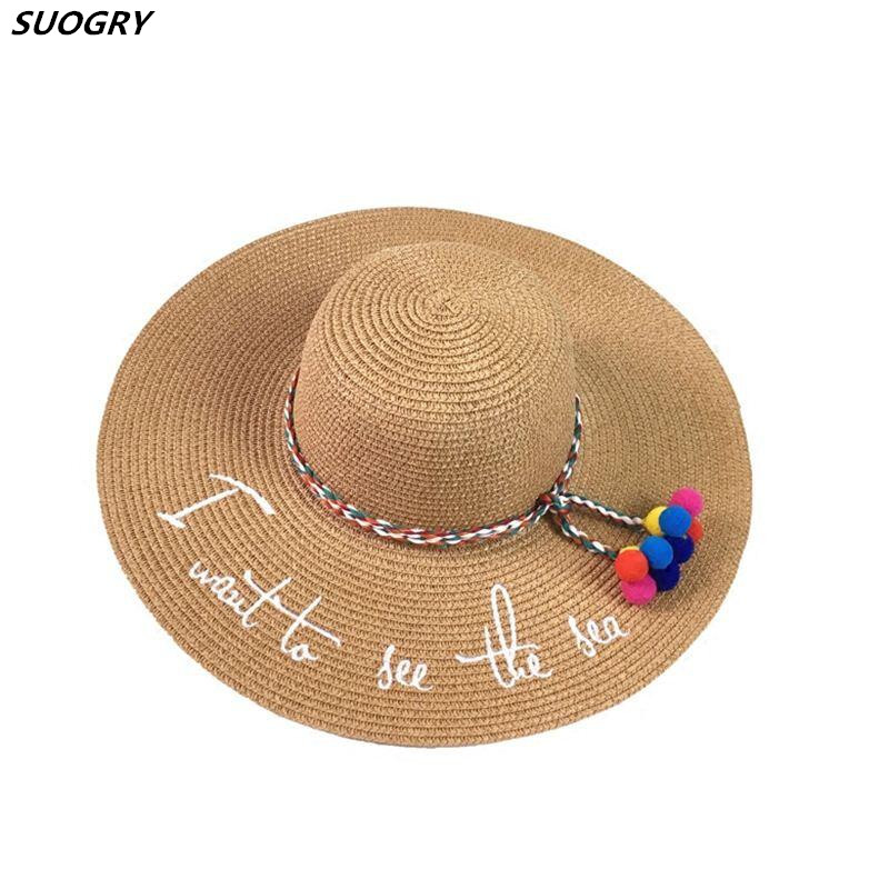 New English Embroidery I want to see the sea Parent-Child Big Eaves Hand Weave Straw Hat Summer Seaside Resort Sun Hat Beach Hat