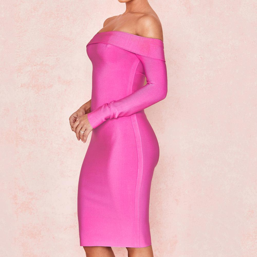 Sexy Strapless Hot Pink Half Long Sleeves 2019 Fashion Bandage Dresses For Women Rose Knee length Bandage Dress For Women