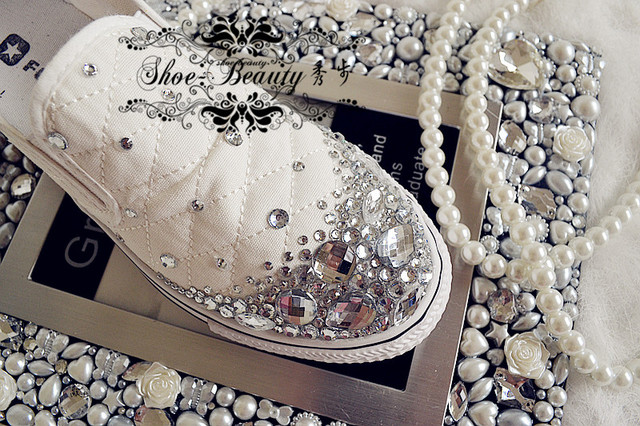 Crystal shoes platform shoes platform shoes rhinestone pearl flat elastic  canvas sneaker shoes sandals 5d9cebec8158