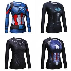 a37b8e25a8603 Gym Running Yoga Shirts 3D Printed Long Sleeve tights Superhero Batman  Spiderman
