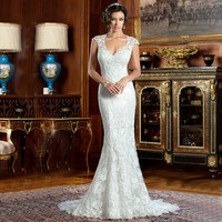 Robe De Mariage Sexy Open Back Mermaid Wedding Dresses Cap Sleeve Lace Vintage Wedding Dress Casamento