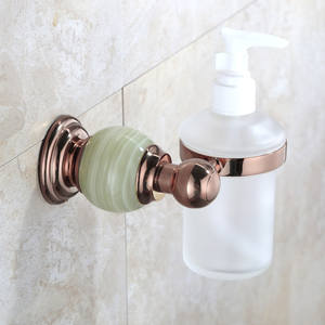 Luxury Brass Jade Wall Mounted Liquid Soap Dispenser With Rose Gold Finish
