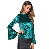 Women O Neck Black Velvet Blouse Shirt 2018 Women S Tops Burgundy Flare Sleeve Fashion Autumn