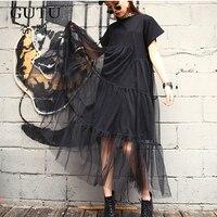 GUTU Summer New Fashion 2017 Large Size Black Stitching Net Yarn Round Collar Short Sleeve