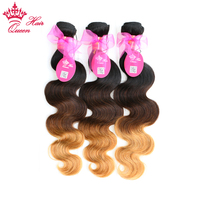 Queen Hair Products Ombre Color Hair Extensions Brazilian Body Wave 3 Tone #1B/4/27 Remy Human Hair Weave 3pcs/Lot Bundles Deal