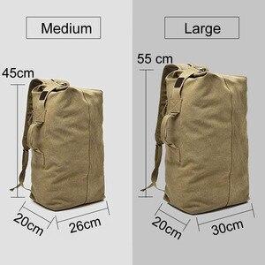 Image 4 - Mochila de lona multiusos para hombre, bolso de viaje para montañismo, de hombro grande, plegable para viaje del ejército XA1934