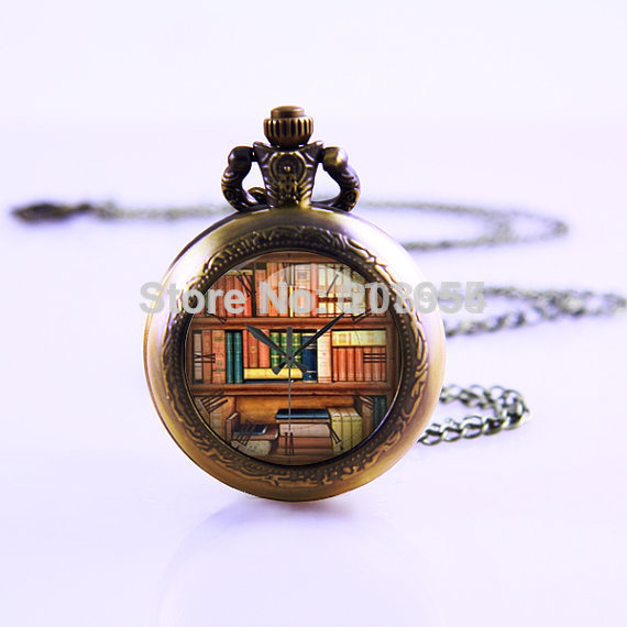 new Library Vintage Necklace 12pcs/lot Pocket Watches men Necklace So many books SO little TIme Student Watch pendant,GIrls Gift