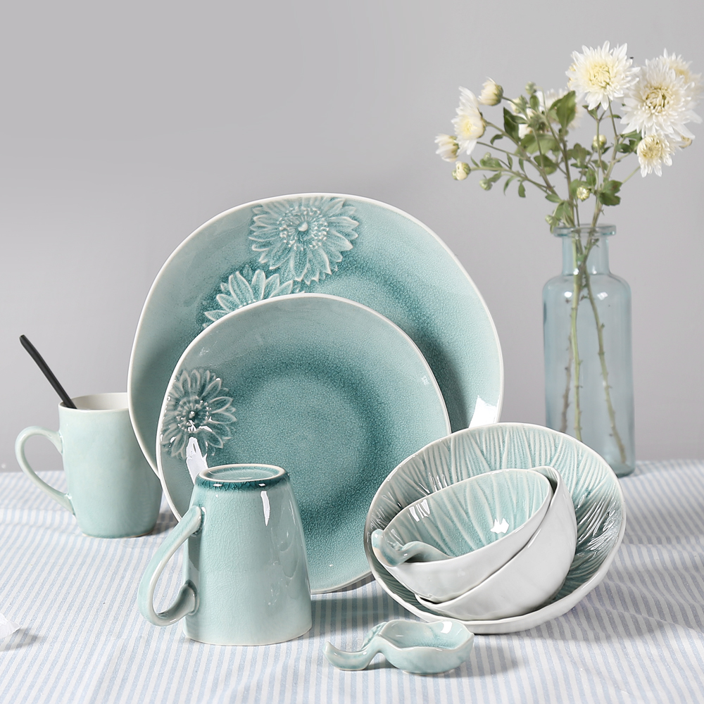 9 Pcs Set Ice Crackle Glaze Ceramic Porcelain Dinnerware