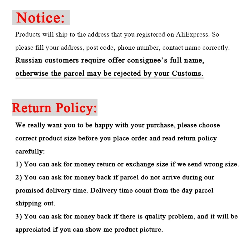 Notice and return policy