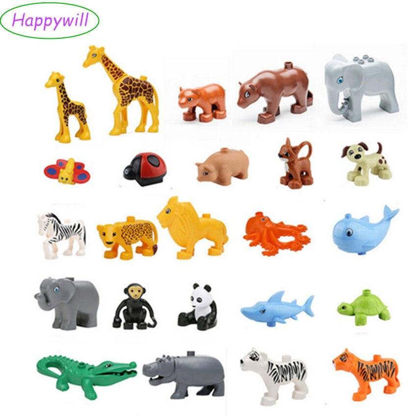 Happywill Animals Blocks Toys Compatible Giraffe Elephant Panda Lion Monkey Crocodile Hippo Octopus Penguin Tiger Whale