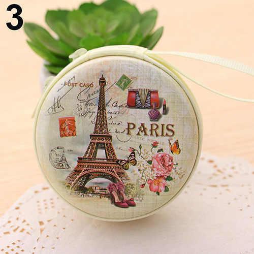 Portátil Encantador Rodada Carteira Chave Titular do Fone de ouvido Dos Desenhos Animados Torre Eiffel Sacos de Caso