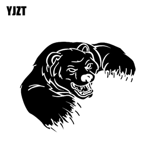 YJZT 15.3*12CM Angry Bear Animal Wilderness Predator Graphic Car Sticker Vinyl Decor Black/Silver C12-0458