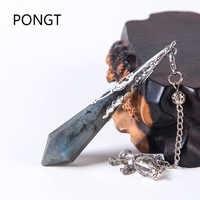 High quality Natural labradorite pendulum for dowsing natural stone pendant healing crystals pendule chakra Crystal Pendulum