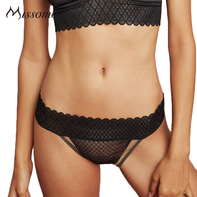 d54c24f9b597 Missomo Solid Black Mesh Semi-Sheer Sexy Panties Women low-Rise Hollow Out  Patchwork Bottom Underwear Ladies Lace Briefs Female