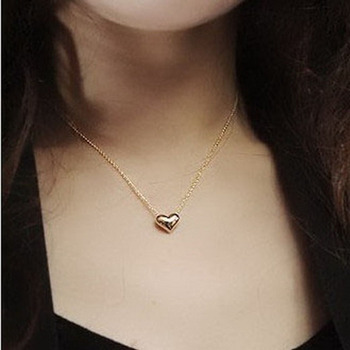 Delicate Women Lady Girl Simple Smooth Small Heart Gold Pated Crystal Pendant Necklace Long Chain Fashion Jewelry H6756 image