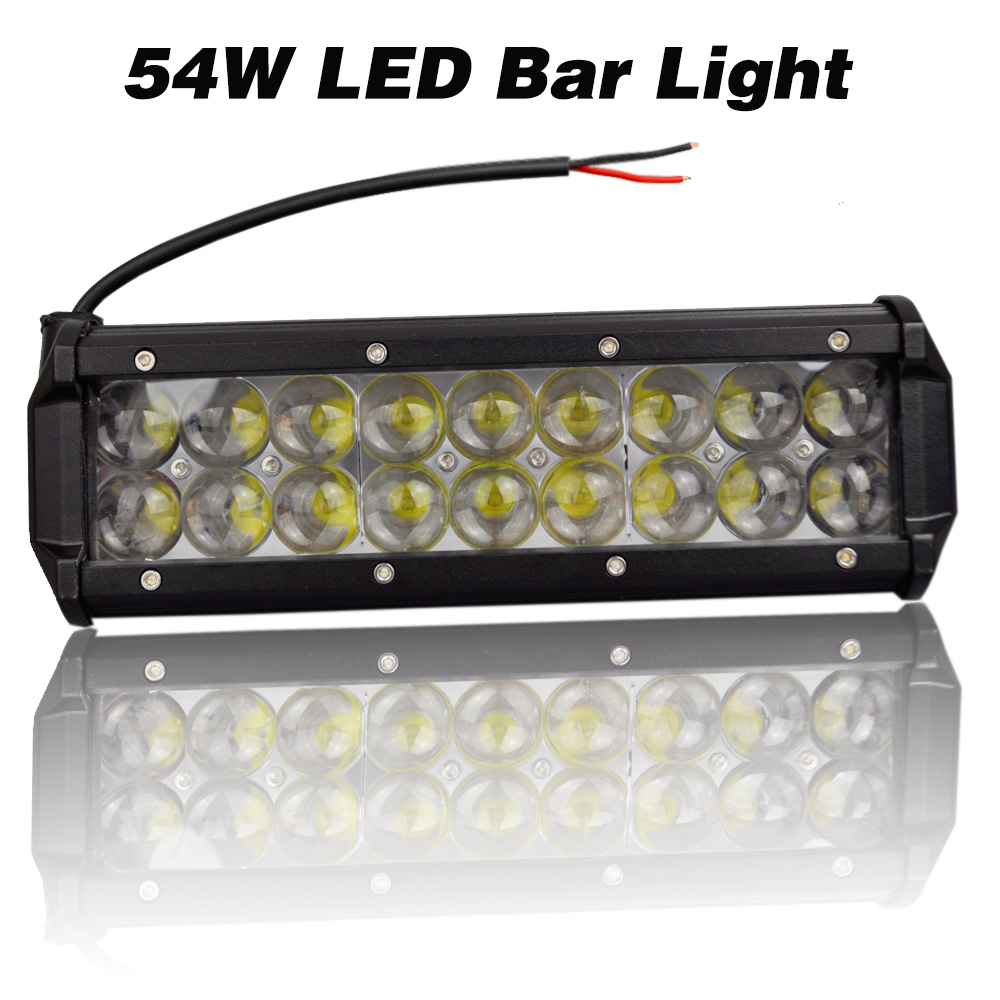 54W LED Bar Light DC12 80V 18pcs Cree Chips Fog Lamp Waterprood IP67 White 6500K Car styling Floodlight for Car Motorcycle Luz