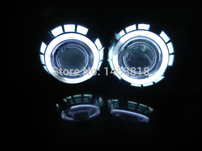 3.0HQT 3 inch HID Bixenon Projector Lenses CCFL Double Angel eyes H1 H7 H4 H11 9005 9006 9004 9007 White Blue Yellow Red Green 13a 2inch h4 bixenon hid projector lens motorcycle headlight yellow blue red white green ccfl angel eye 1 pc slim ballast