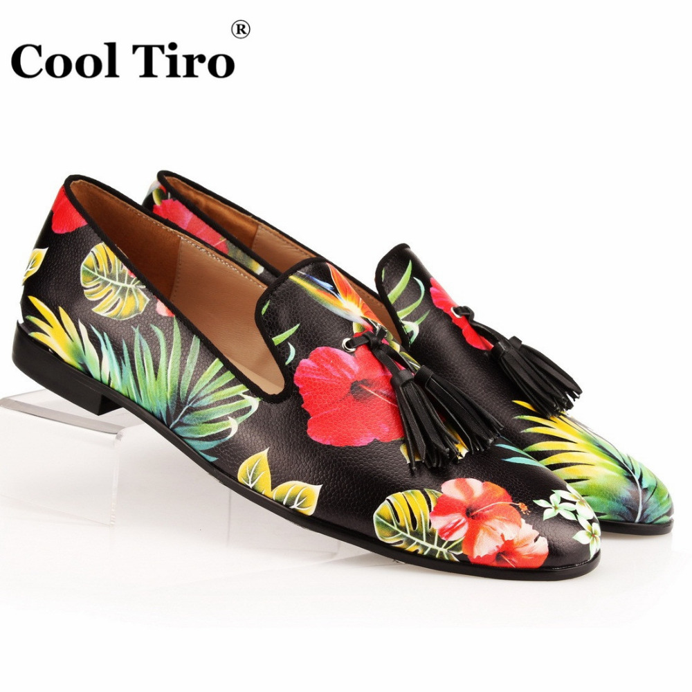 COOL TIRO Tassel Men Loafers Flowers painted Genuine Leather Slipper Smoking Slip ons Shoes Party Wedding