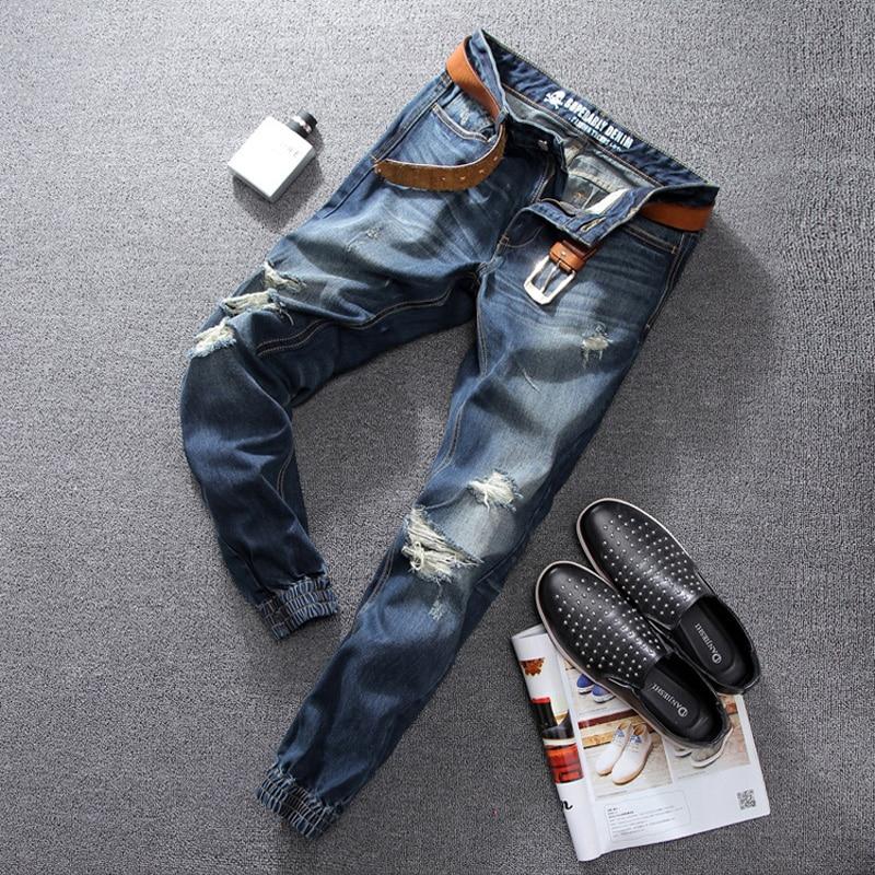 Hot Sale Designer Slim Fit Blue Jeans Men Superably Brand Clothing Ripped Jeans Denim Pants High Quality Mens Jogger Jeans 393 2017 slim fit jeans men new famous brand superably jeans ripped denim trousers high quality mens jeans with logo ue237
