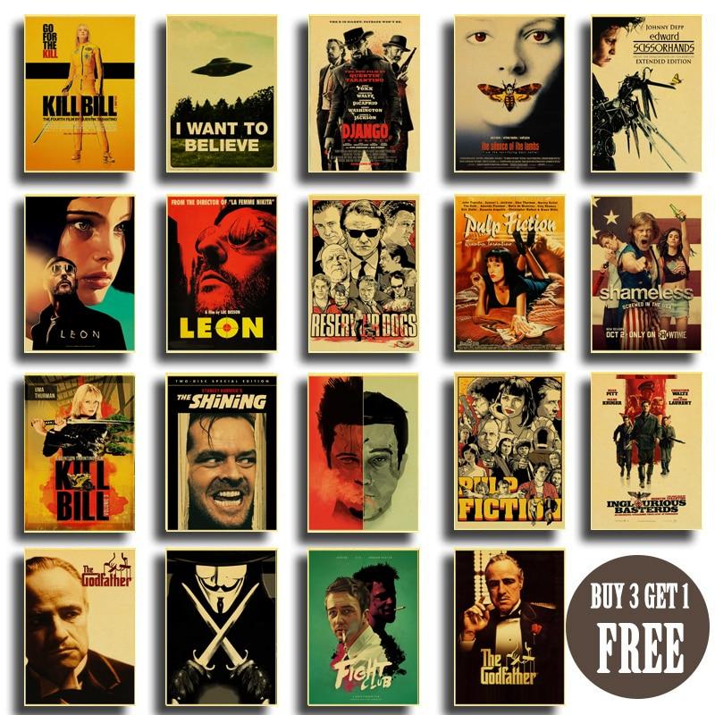 Cartaz do vintage filme clássico pulp fiction/kill bill/clube de luta cartaz retro papel kraft cartazes pintura de arte decorativa