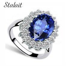 Классическое кольцо с голубым кристаллом, модное элегантное кольцо с фианитами, ювелирное изделие серебряного цвета, женские обручальные кольца