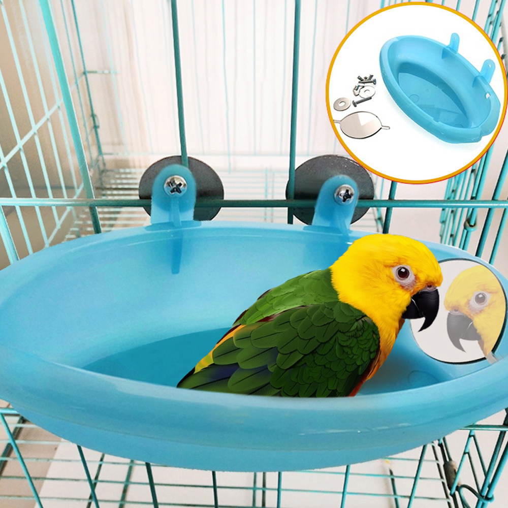 PipiFren Parrot Bathtub With Mirror Bird Cage Accessories Mirror Bath Shower Box Small Parrot Cage Pet Toys Jouet Perroquet