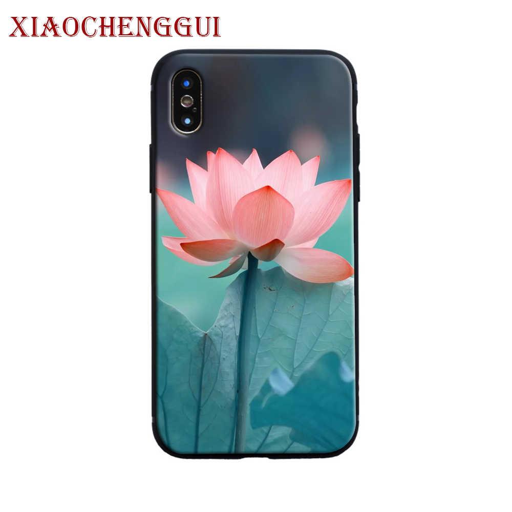 Lotus Pola Bunga Lukisan Lembut Silicone Ponsel Case Penutup untuk Apple Iphone 6 6 S 7 7 Plus X xr X Max 5 5 S SE Tritone