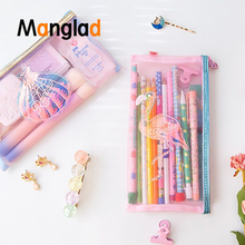Flamingo Shell Net yarn Pencil Zipper Bag Student Cute School Supply Stationery Storage Pouch Girl Coin Purse Makeup Case